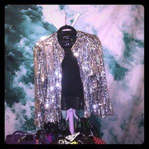 Blogger fv sequin INC silver black glitter jacket